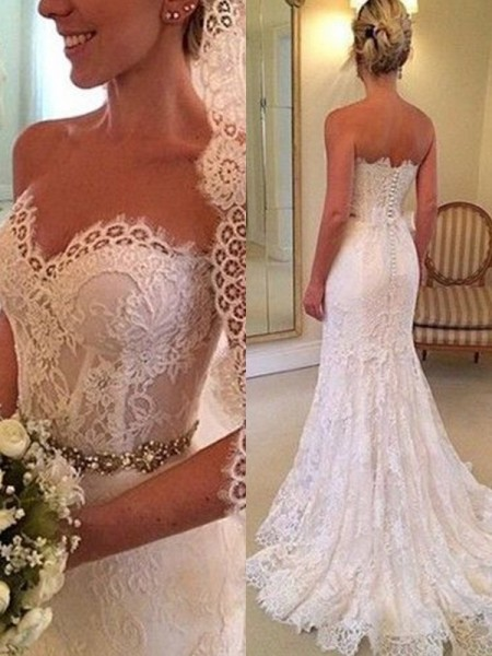 Sheath/Column Sweetheart Sleeveless Sweep/Brush Train Wedding Dresses with Lace with Beading