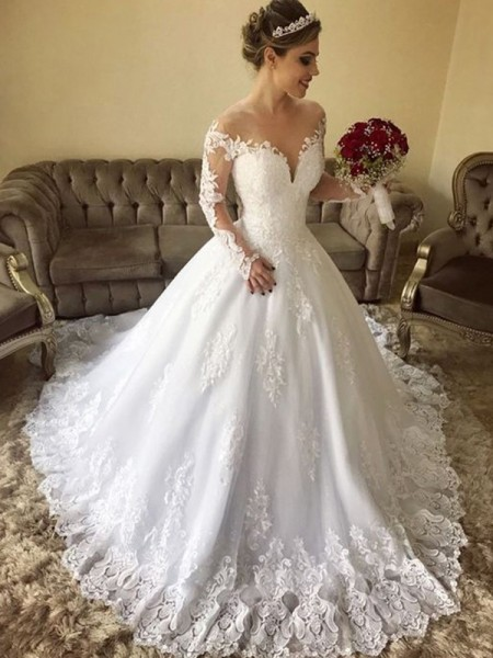 Ball Gown Off-the-Shoulder Long Sleeves Sweep/Brush Train Tulle Wedding Dresses with Lace