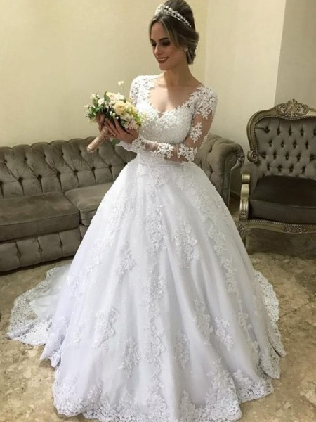 Ball Gown V-neck Long Sleeves Sweep/Brush Train Satin Wedding Dresses with Applique