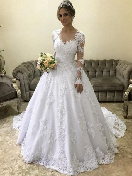 Ball Gown V-neck Long Sleeves Court Train Satin Wedding Dresses with Applique