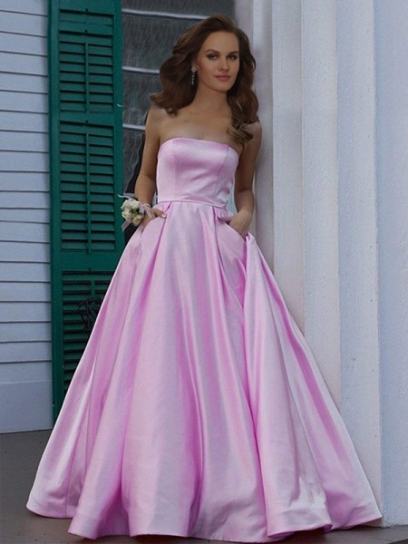 A-Line/Princess Strapless Sleeveless Floor-Length Satin Dresses with Ruffles