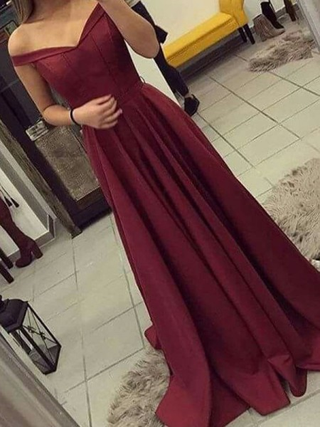 A-Line/Princess Off-the-Shoulder Sleeveless Sweep/Brush Train Satin Dresses with Ruched