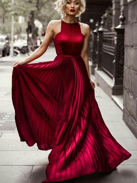A-Line/Princess Halter Sleeveless Floor-Length Silk like Satin Dresses with Ruched