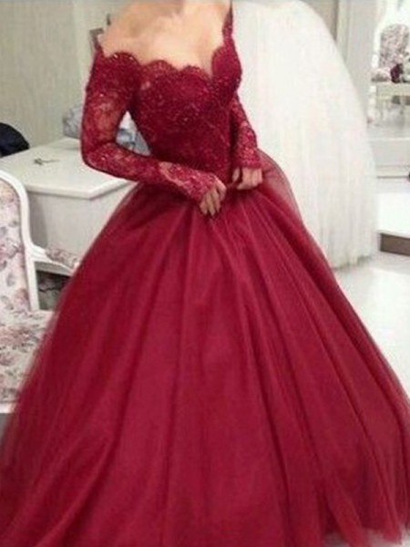 Ball Gown V-neck Long Sleeves Floor-Length Tulle Dresses with Lace