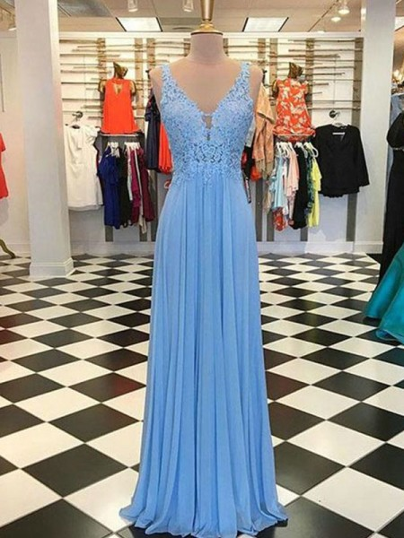 A-Line/Princess Spaghetti Straps Sleeveless Floor-Length Chiffon Dresses with Applique