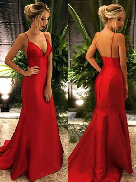 Trumpet/Mermaid Spaghetti Straps Sleeveless Sweep/Brush Train Satin Dresses with Ruffles