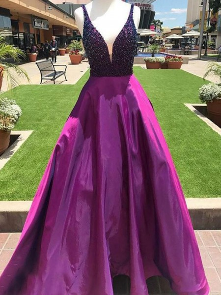 A-Line/Princess V-neck Sleeveless Floor-Length Satin Dresses with Beading