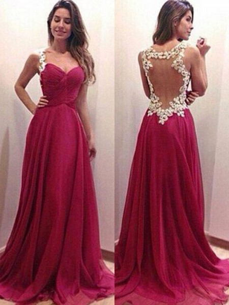 A-Line/Princess Sweetheart Sleeveless Sweep/Brush Train Chiffon Dresses with Applique