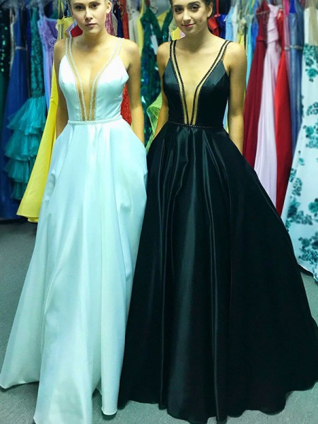 A-Line/Princess Sleeveless V-neck Floor-Length Satin Dresses with Ruffles