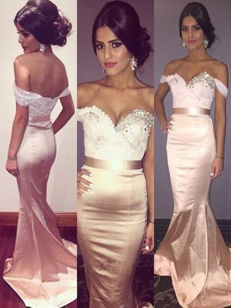Trumpet/Mermaid Sleeveless Off-the-Shoulder Sweep/Brush Train Satin Dresses with Beading