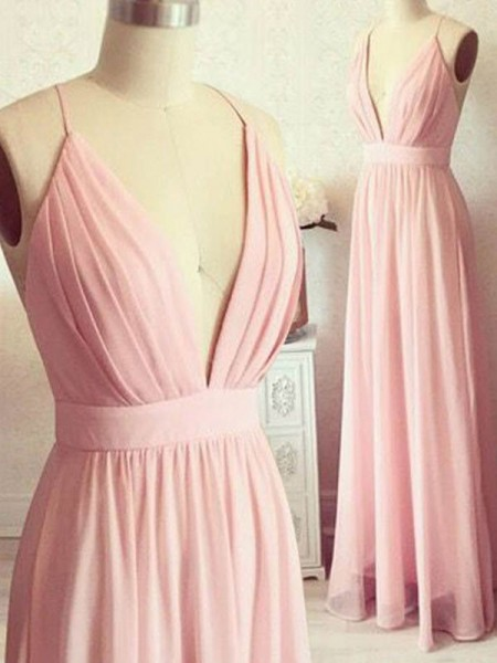 A-Line/Princess Sleeveless Spaghetti Straps Floor-Length Chiffon Dresses
