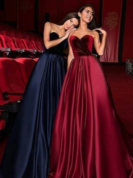 A-Line/Princess Sleeveless Sweetheart Court Train Satin Dresses with Ruffles