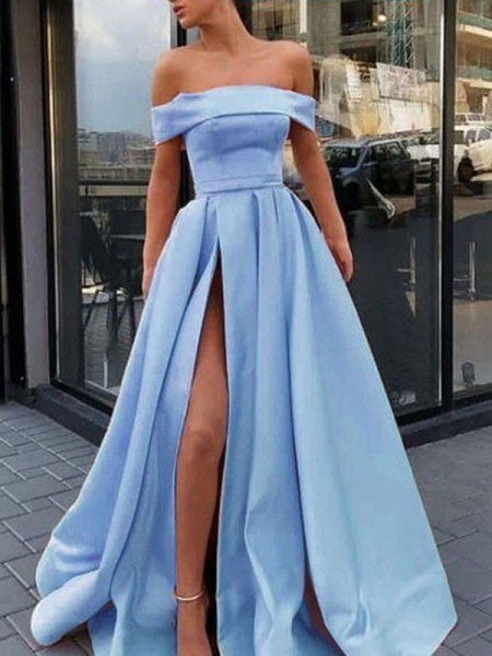 A-Line/Princess Sleeveless Off-the-Shoulder Sweep/Brush Train Satin Dresses with Ruffles
