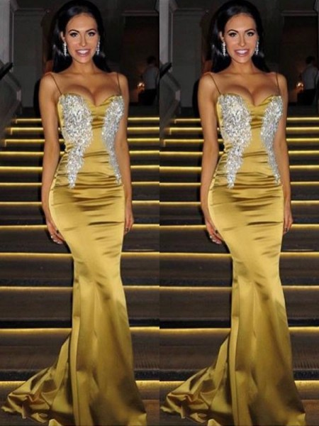 Trumpet/Mermaid Sleeveless Spaghetti Straps Sweep/Brush Train Satin Dresses with Beading