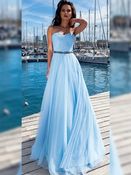 A-Line/Princess Chiffon Sweetheart Sleeveless Floor-Length Dresses with Ruffles