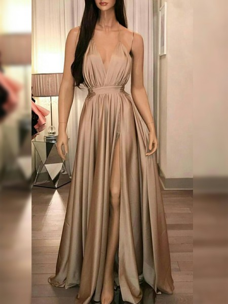 A-Line/Princess Silk like Satin Spaghetti Straps Sleeveless Floor-Length Dresses with Ruffles