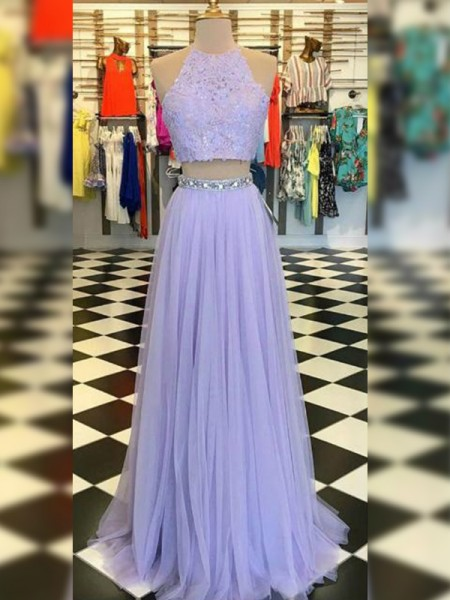 A-Line/Princess Tulle Halter Sleeveless Sweep/Brush Train Two Piece Dresses with Lace