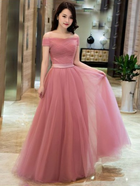 A-Line/Princess Tulle Off-the-Shoulder Sleeveless Floor-Length Dresses with Ruffles
