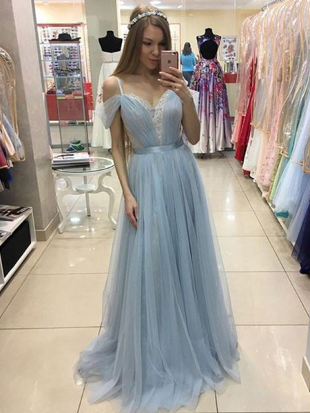 A-Line/Princess Tulle Spaghetti Straps Sleeveless Sweep/Brush Train Dresses with Ruffles