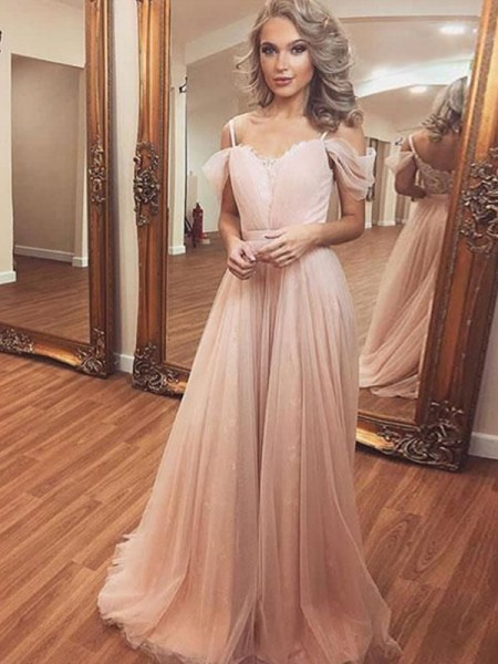 A-Line/Princess Tulle Off-the-Shoulder Sleeveless Sweep/Brush Train Dresses with Ruched