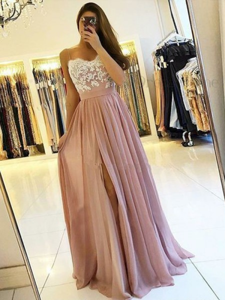 A-Line/Princess Sleeveless Spaghetti Straps Floor-Length Chiffon Dresses with Applique