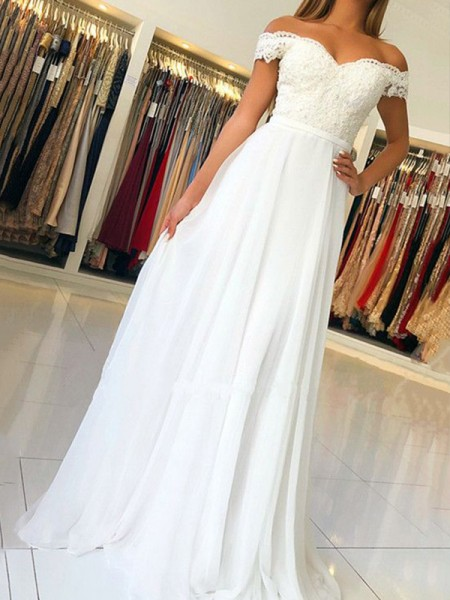 A-Line/Princess Sleeveless Off-the-Shoulder Floor-Length Chiffon Dresses with Applique