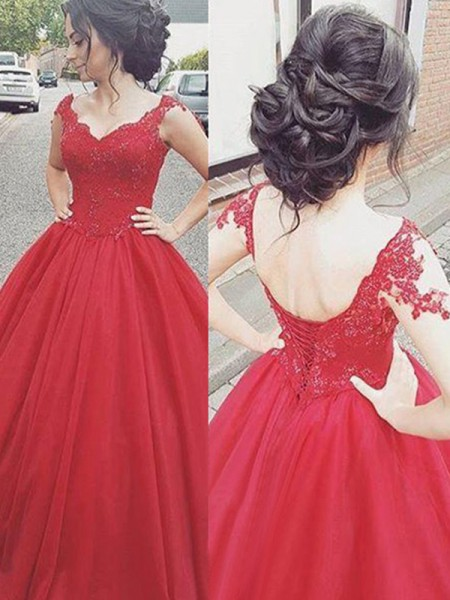 Ball Gown V-neck Sleeveless Floor-Length Satin Dresses with Applique