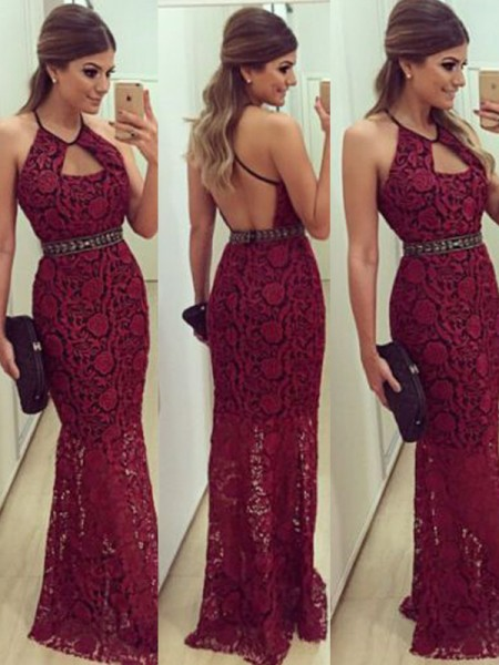 Sheath/Column Sleeveless Floor-Length Halter Lace Dresses with Beading