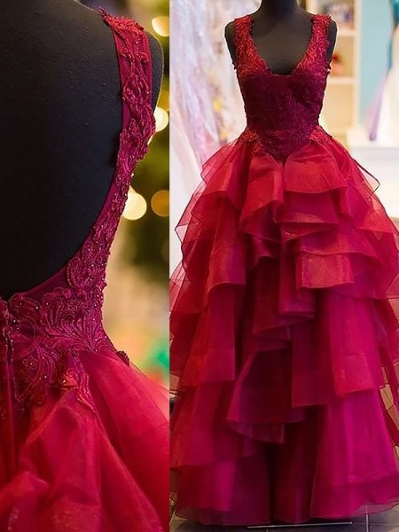 Ball Gown Sleeveless V-Neck Floor-Length Tulle Dresses with Applique