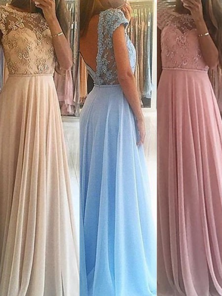 A-Line/Princess Sleeveless Scoop Floor-Length Chiffon Dresses with Beading