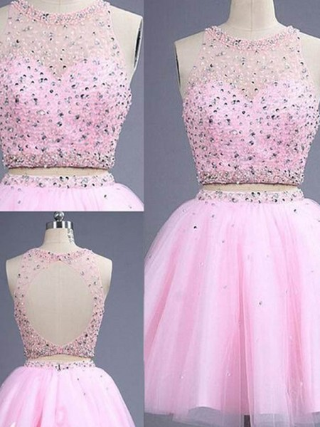 A-Line/Princess Sleeveless Scoop Short/Mini Tulle Two Piece Dresses with Beading