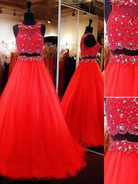 A-Line/Princess Scoop Sleeveless Floor-Length Tulle Two Piece Dresses with Beading