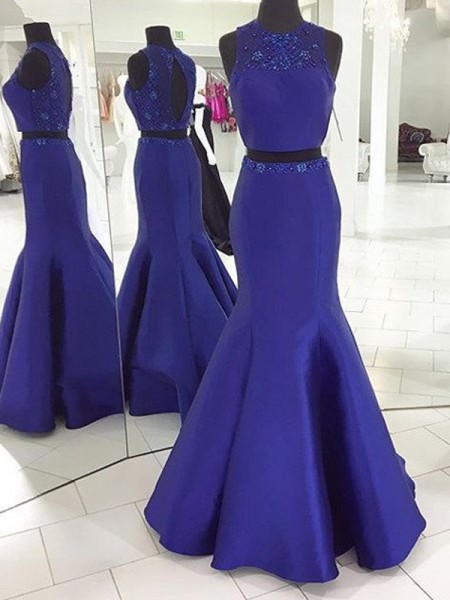 Trumpet/Mermaid Sleeveless Scoop Floor-Length Satin Two Piece Dresses with Beading