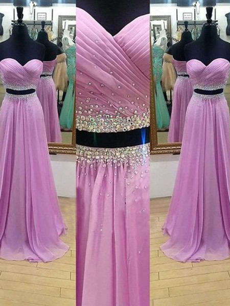 A-Line/Princess Sweetheart Sleeveless Floor-Length Chiffon Two Piece Dresses with Beading