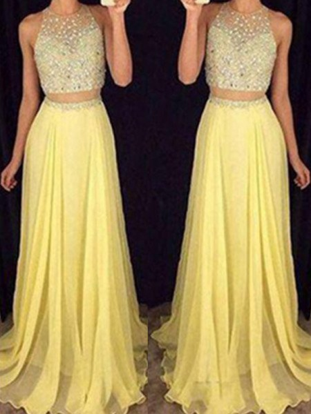 A-Line/Princess Scoop Sleeveless Floor-Length Chiffon Two Piece Dresses with Beading