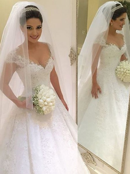 Ball Gown Sleeveless V-neck Floor-Length Tulle Wedding Dress with Beading