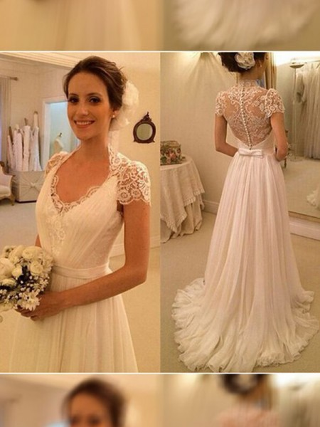 A-Line/Princess V-neck Sweep/Brush Train Sleeveless Lace Chiffon Wedding Dress