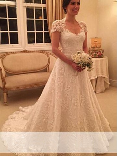 A-Line/Princess Sweetheart Court Train Short Sleeves Lace Wedding Dress