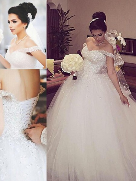 Ball Gown Off-the-Shoulder Sleeveless Lace Court Train Tulle Wedding Dress