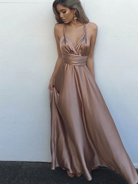 A-Line/Princess Spaghetti Straps Silk like Satin Floor-Length Dress