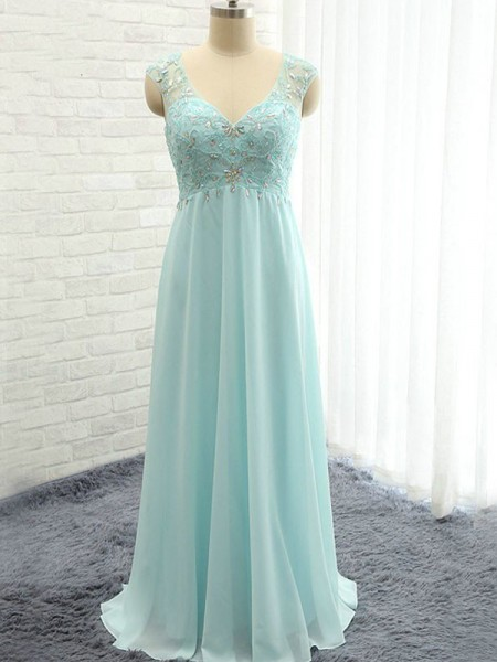 A-Line/Princess Sweetheart Floor-Length Chiffon Bridesmaid Dress with Beading