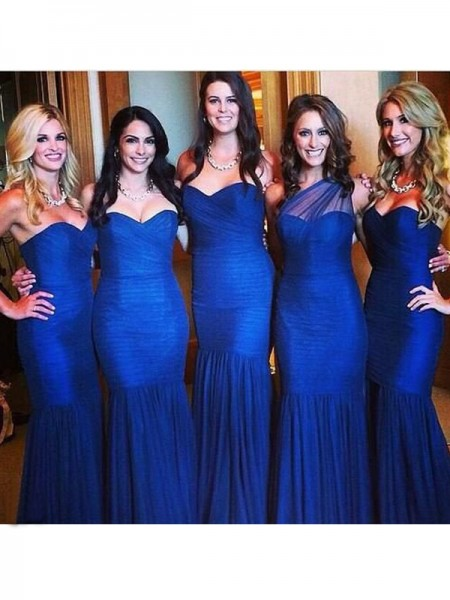 Trumpet/Mermaid Sweetheart Floor-Length Tulle Bridesmaid Dress with Ruched