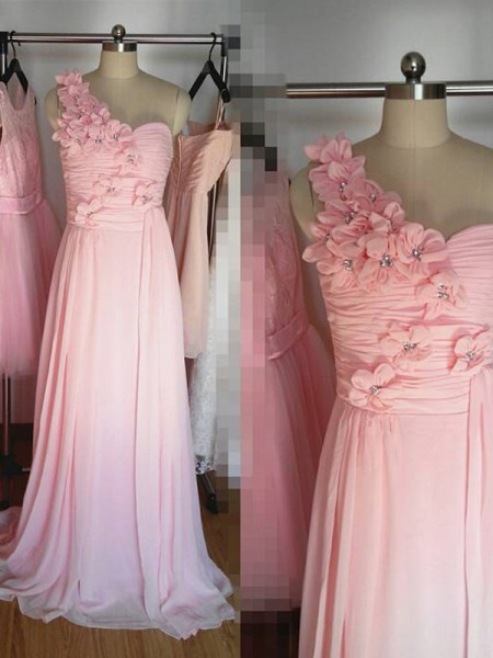 A-Line/Princess One-Shoulder Floor-Length Chiffon Bridesmaid Dress with Hand-Made Flower