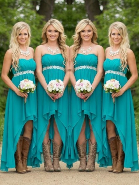 A-Line/Princess Sweetheart Asymmetrical Chiffon Bridesmaid Dress with Beading