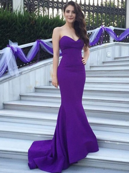 Trumpet/Mermaid Sweetheart Sweep/Brush Train Satin Bridesmaid Dress