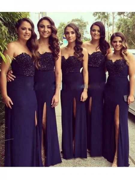 A-Line/Princess Sweetheart Floor-Length Lace Spandex Bridesmaid Dress