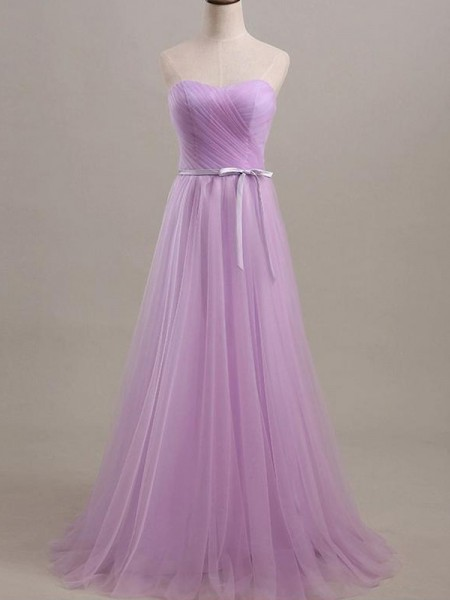 A-Line/Princess Sweetheart Floor-Length Tulle Bridesmaid Dress with Sash/Ribbon/Belt