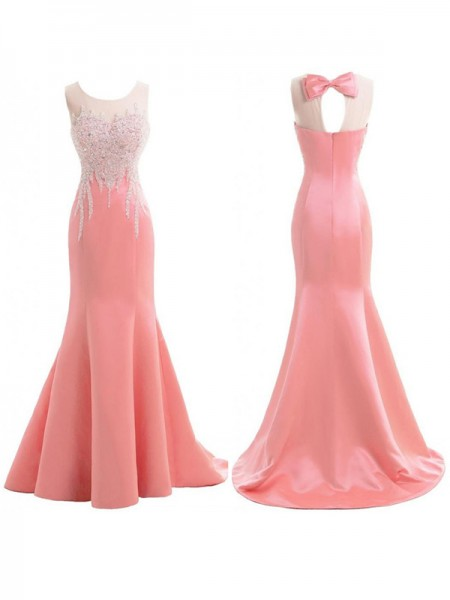 Trumpet/Mermaid Scoop Sweep/Brush Train Satin Bridesmaid Dress with Beading