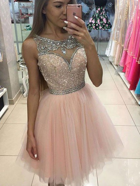 A-Line/Princess Sleeveless Scoop Short/Mini Tulle Dresses with Beading