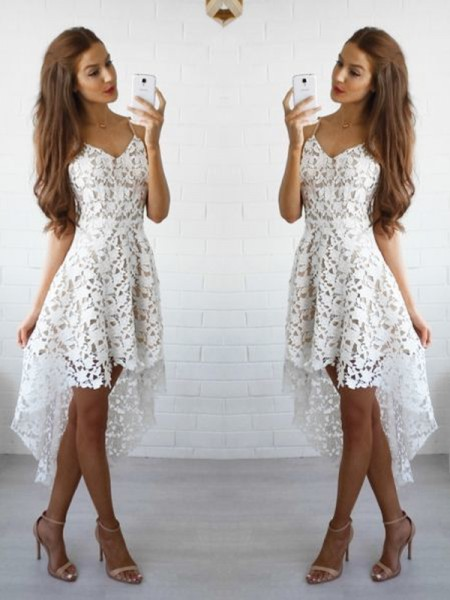 A-Line/Princess Sleeveless Spaghetti Straps Short/Mini Dresses with Lace